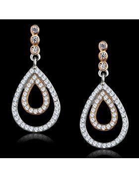 TS548 - 925 Sterling Silver Rose Gold + Rhodium Earrings AAA Grade CZ Clear