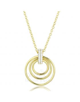 TS601-16 - 925 Sterling Silver Gold Necklace AAA Grade CZ Clear