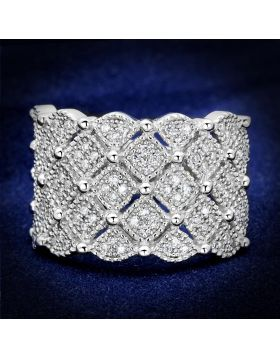 TS546-5 - 925 Sterling Silver Rhodium Ring AAA Grade CZ Clear