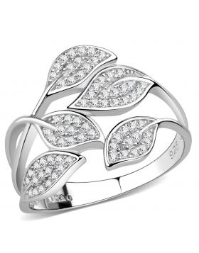 TS618-5 - 925 Sterling Silver Rhodium Ring AAA Grade CZ Clear