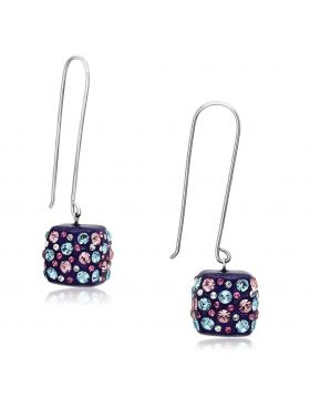 VL089 - Stainless Steel High polished (no plating) Earrings Top Grade Crystal Multi Color