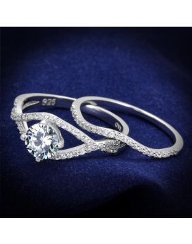 TS350-6 - 925 Sterling Silver Rhodium Ring AAA Grade CZ Clear
