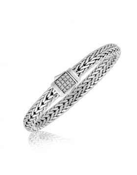 Sterling Silver Braided Style Unisex Bracelet with White Sapphire Stones