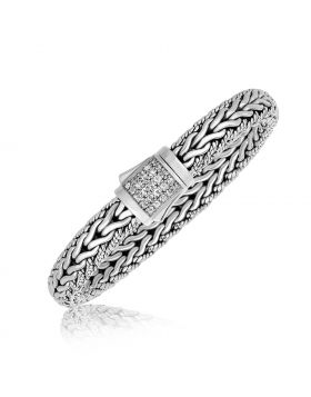 Sterling Silver Braided Design Unisex Bracelet with White Sapphire Stones
