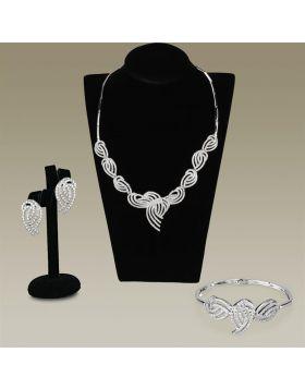 Jewelry Sets,Brass,Rhodium,AAA Grade CZ,Clear