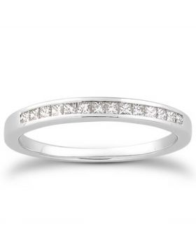 14k White Gold Channel Set Princess Diamond Wedding Ring Band