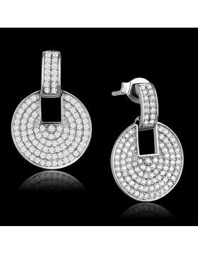 TS323 - 925 Sterling Silver Rhodium Earrings AAA Grade CZ Clear