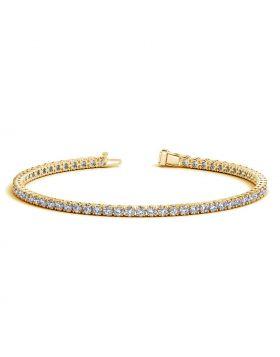 14k Yellow Gold Round Diamond Tennis Bracelet (3 cttw)
