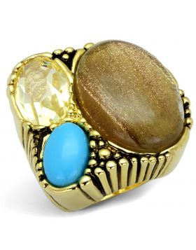 LO3900-6 - Brass Gold Ring Synthetic Topaz