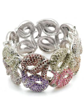 Bangle,Brass,Rhodium,AAA Grade CZ,Multi Color