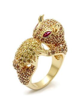 LO1595-10 - Brass Imitation Gold Ring Synthetic Ruby