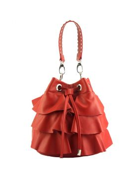 Ileana leather bucket bag - Red