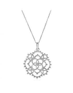 Textured Loop Pattern Pendant in Sterling Silver
