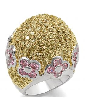 LO1338-8 - Brass Reverse Two-Tone Ring AAA Grade CZ Rose