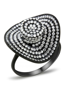 Ring Stainless Steel IP Black(Ion Plating) AAA Grade CZ Clear
