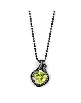 TK2629-16 - Stainless Steel IP Black(Ion Plating) Chain Pendant AAA Grade CZ Apple Green color