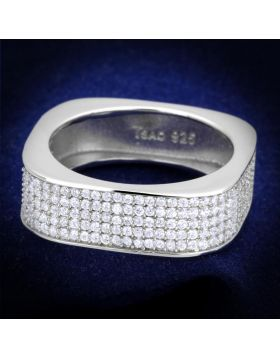 TS346-5 - 925 Sterling Silver Rhodium Ring AAA Grade CZ Clear