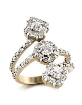9W073-5 - Brass Gold+Rhodium Ring AAA Grade CZ Clear