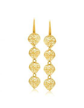 14k Yellow Gold Leaf Like Chain Dangling Earrings