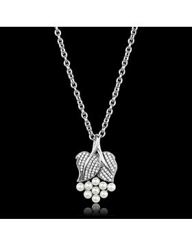 TS165-16 - 925 Sterling Silver Rhodium Chain Pendant Synthetic White