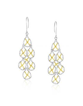 14k Yellow Gold & Sterling Silver Pear Shaped Beaded Earrings