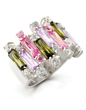 37611-5 - 925 Sterling Silver High-Polished Ring AAA Grade CZ Multi Color