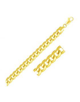 6.7mm 14k Yellow Gold Solid Miami Cuban Bracelet