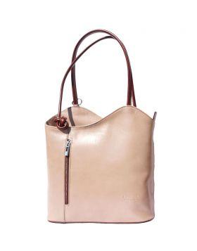 Cloe leather shoulder bag - Lite Taupe/Brown