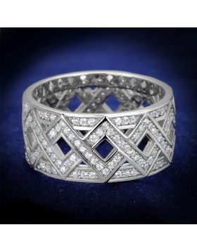 TS372-5 - 925 Sterling Silver Rhodium Ring AAA Grade CZ Clear