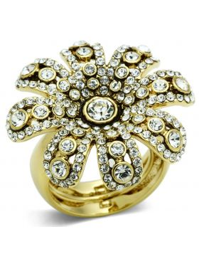 LO2465-8 - Brass Gold Ring Top Grade Crystal Clear