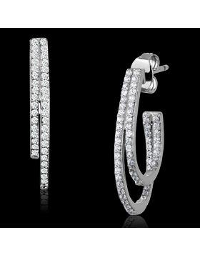 TS293 - 925 Sterling Silver Rhodium Earrings AAA Grade CZ Clear