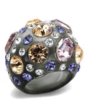 VL114-5 - Resin N/A Ring Top Grade Crystal Multi Color