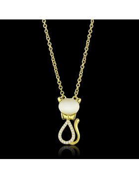 TS409-16 - 925 Sterling Silver Gold Chain Pendant Synthetic White