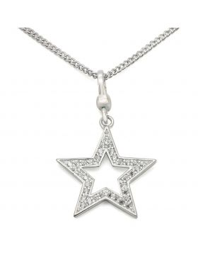 LOS441-18 - 925 Sterling Silver Silver Chain Pendant AAA Grade CZ Clear