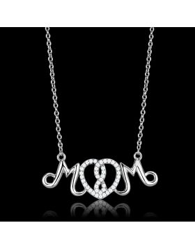 TS571-16 - 925 Sterling Silver Rhodium Necklace AAA Grade CZ Clear