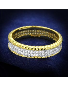 TS371-5 - 925 Sterling Silver Gold+Rhodium Ring AAA Grade CZ Clear