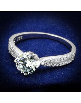 TS537-5 - 925 Sterling Silver Rhodium Ring AAA Grade CZ Clear