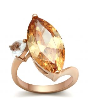 Ring Brass IP Rose Gold(Ion Plating) AAA Grade CZ Champagne