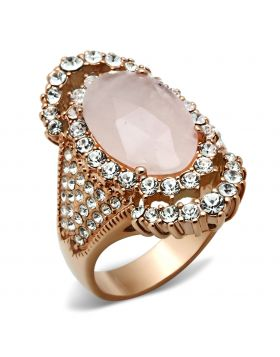 Ring Brass IP Rose Gold(Ion Plating) Precious Stone Light Rose PINK CRYSTAL Oval