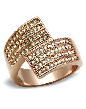 Ring Brass IP Rose Gold(Ion Plating) Top Grade Crystal Multi Color