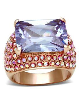 Ring Brass IP Rose Gold(Ion Plating) AAA Grade CZ Light Amethyst