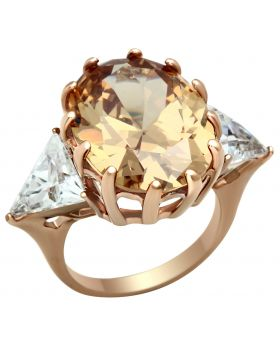Ring Brass IP Rose Gold(Ion Plating) AAA Grade CZ Champagne Oval