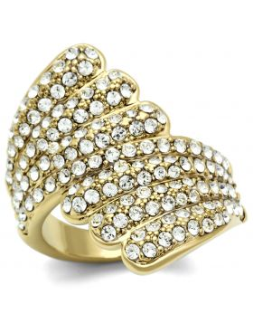 Ring Brass IP Gold(Ion Plating) Top Grade Crystal Clear