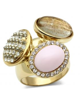 Ring Brass IP Gold(Ion Plating) Top Grade Crystal Multi Color