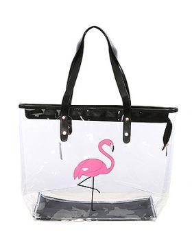 Clear Beach Tote - Flamingo