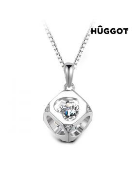 Hûggot Cube 925 Sterling Silver Pendant with Zircons Created with Swarovski®Crystals (40 cm)