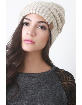 Solid Ridged Knit Beanie -  Beige