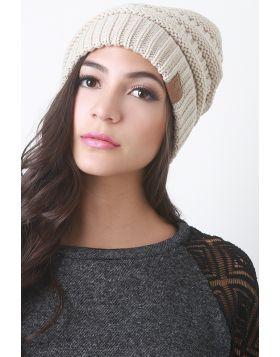 Solid Ridged Knit Beanie -  Beige