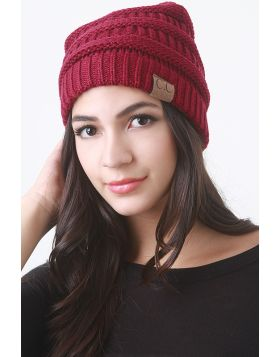 Solid Ridged Knit Beanie -  Burgundy