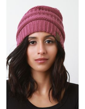 Solid Ridged Knit Beanie -  Dark Rose